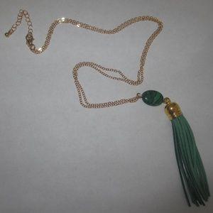 Jewelry - NECKLACE WOMAN`S GREEN Tassel malachite gemstone
